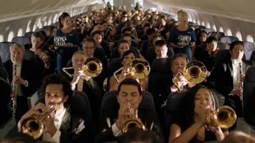 Orchestra on airplane